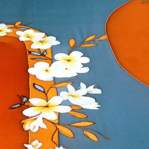 Frangipani Hand Painted Silk Kimono